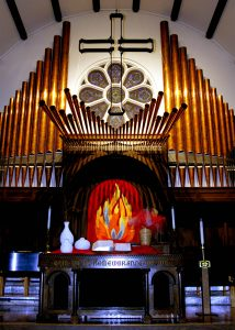The Altar and Organ at the front of the Sanctuary.